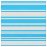 [ Thumbnail: Deep Sky Blue & Light Yellow Pattern of Stripes Fabric ]
