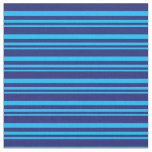 [ Thumbnail: Deep Sky Blue & Midnight Blue Colored Lines Fabric ]