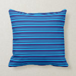 [ Thumbnail: Deep Sky Blue & Midnight Blue Colored Lines Pillow ]