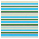 [ Thumbnail: Deep Sky Blue, Pale Goldenrod, Gray, Green & White Fabric ]