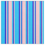 [ Thumbnail: Deep Sky Blue, Pink, and Blue Lines Pattern Fabric ]