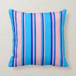 [ Thumbnail: Deep Sky Blue, Pink, and Blue Lines Pattern Pillow ]