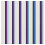 [ Thumbnail: Deep Sky Blue, Plum, Indigo, Black & White Lines Fabric ]