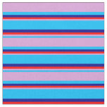 [ Thumbnail: Deep Sky Blue, Plum, Red, and Dark Blue Stripes Fabric ]
