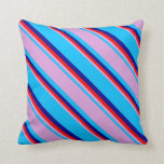 [ Thumbnail: Deep Sky Blue, Plum, Red, and Dark Blue Stripes Throw Pillow ]