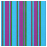 [ Thumbnail: Deep Sky Blue, Purple, and Dark Green Pattern Fabric ]