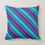 [ Thumbnail: Deep Sky Blue, Purple, and Dark Green Pattern Throw Pillow ]