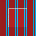 [ Thumbnail: Deep Sky Blue & Red Colored Pattern Fabric ]