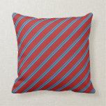 [ Thumbnail: Deep Sky Blue & Red Colored Pattern Throw Pillow ]