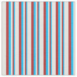 [ Thumbnail: Deep Sky Blue, Red & Mint Cream Colored Pattern Fabric ]