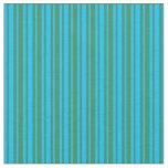 [ Thumbnail: Deep Sky Blue & Sea Green Colored Stripes Fabric ]
