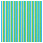 [ Thumbnail: Deep Sky Blue, Tan, and Lime Green Colored Stripes Fabric ]