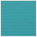 [ Thumbnail: Deep Sky Blue & Teal Colored Stripes Fabric ]