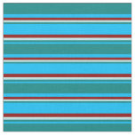 [ Thumbnail: Deep Sky Blue, Teal, Turquoise & Dark Red Colored Fabric ]