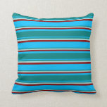[ Thumbnail: Deep Sky Blue, Teal, Turquoise & Dark Red Colored Throw Pillow ]