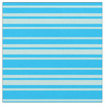 [ Thumbnail: Deep Sky Blue & Turquoise Colored Stripes Fabric ]