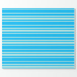 [ Thumbnail: Deep Sky Blue & Turquoise Colored Stripes Wrapping Paper ]