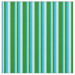 [ Thumbnail: Deep Sky Blue, Turquoise & Green Colored Stripes Fabric ]