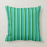 [ Thumbnail: Deep Sky Blue, Turquoise & Green Colored Stripes Throw Pillow ]