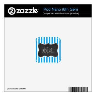 Deep Sky Blue Vertical Stripes; Chalkboard look Decals For iPod Nano 6G