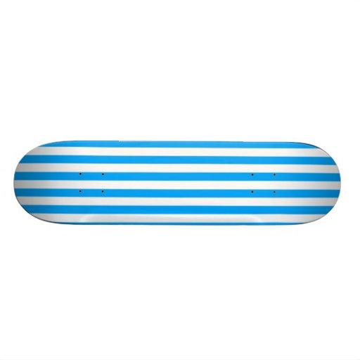 Deep Sky Blue Vertical Stripes; Striped Skateboard Deck