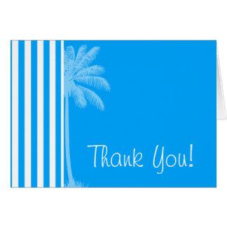 Deep Sky Blue Vertical Stripes; Tropical Palm Tree Card