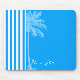 Deep Sky Blue Vertical Stripes; Tropical Palm Tree Mouse Pad