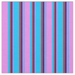 [ Thumbnail: Deep Sky Blue, Violet, Blue & Brown Lined Pattern Fabric ]