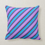 [ Thumbnail: Deep Sky Blue, Violet, Blue & Brown Lined Pattern Throw Pillow ]