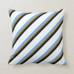 [ Thumbnail: Deep Sky Blue, Violet, Green, Black, and White Throw Pillow ]