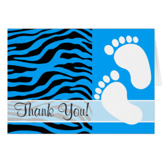 Deep Sky Blue Zebra Stripes Animal Print Card