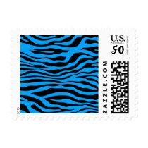 Deep Sky Blue Zebra Stripes Animal Print Postage