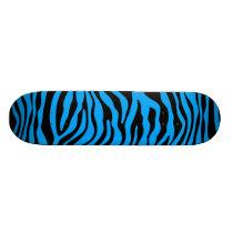 Deep Sky Blue Zebra Stripes Animal Print Skateboard