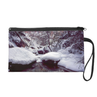Deep snow at Middle Emerald Pools Wristlet Clutches