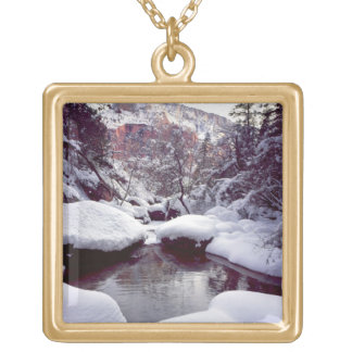 Deep snow at Middle Emerald Pools Gold Plated Necklace