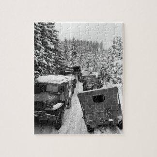 Deep snow banks on a narrow road halt_War Image Jigsaw Puzzle
