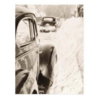 Deep Snow Old Vintage Car Postcard