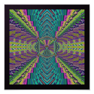 Deep Sound Abstract in Purples and Turquoise Poster