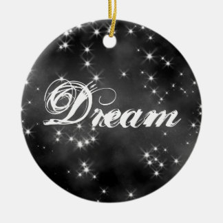 Deep Space B&W Collectible - Dream / Believe Double-Sided Ceramic Round Christmas Ornament