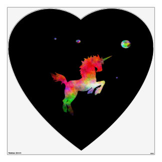 Deep Space Multi-hued Unicorn Large Heart Wall Sticker