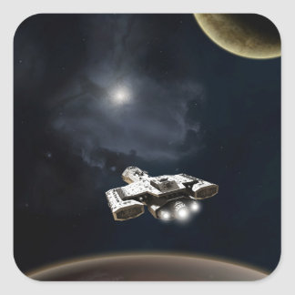 Deep Space - Science Fiction Battle Cruiser Square Stickers