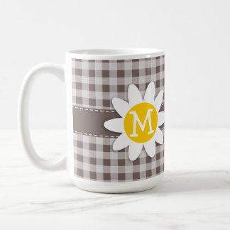Deep Taupe Gingham; Daisy Mugs