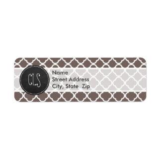 Deep Taupe Quatrefoil; Vintage Chalkboard look Label