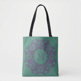 Deep Teal and Perfect Plum Scroll Wreath Monogram Tote Bag