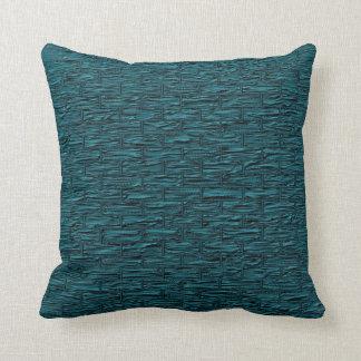 Deep Teal Brick Pattern Lumbar and Throw Pillows