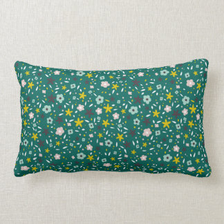 Deep Teal Ditsy Floral Pattern Pillow
