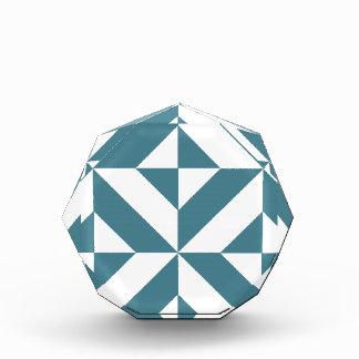 Deep Teal Green Geometric Deco Cube Pattern Acrylic Award