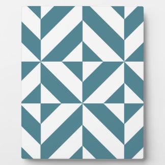 Deep Teal Green Geometric Deco Cube Pattern Plaque