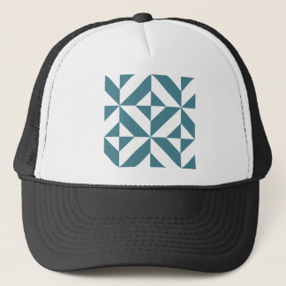 Deep Teal Green Geometric Deco Cube Pattern Trucker Hat