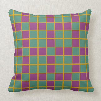 Deep Teal Juicy Berry and Spicy Mustard Tile Plaid Throw Pillow